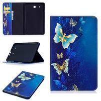 Elegant PU kožené polohovatelné pouzdro na Samsung Galaxy Tab E 9.6 - motýlí magie