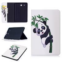 Elegant PU kožené polohovatelné pouzdro na Samsung Galaxy Tab E 9.6 - panda na bambusu
