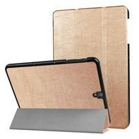 Trifold polohovatelné PU kožené pouzdro na Samsung Galaxy Tab S3 9.7 T820 - zlaté