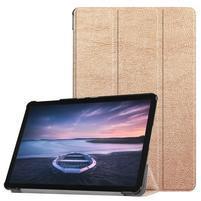 Trifold PU kožené polohovací pouzdro na Samsung Galaxy Tab S4 10.5 (SM-T830/T835) - zlaté