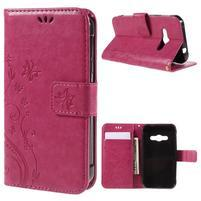 Butterfly PU kožené pouzdro na mobil Samsung Galaxy Xcover 3 - rose