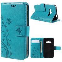 Butterfly PU kožené pouzdro na mobil Samsung Galaxy Xcover 3 - modré