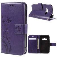 Butterfly PU kožené pouzdro na mobil Samsung Galaxy Xcover 3 - fialové