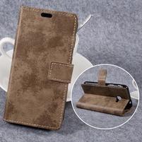 Vintage PU kožené puzdro na mobil Samsung Galaxy Xcover 4 - khaki