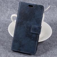 Vintage PU kožené  pouzdro na mobil Samsung Galaxy Xcover 4 - tmavěmodré