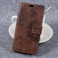 Vintage PU kožené puzdro na mobil Samsung Galaxy Xcover 4 - hnedé