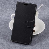 Cross PU kožené klopové puzdro na Samsung Galaxy Xcover 4 - čierne