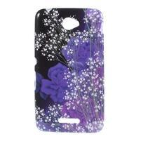 Gelový obal na Sony Xperia E4 - fialové květy