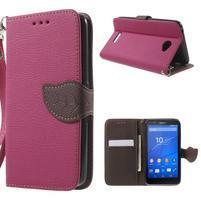 PU kožené lístkové pouzdro pro Sony Xperia E4 - rose