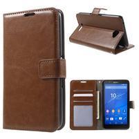 PU kožené peněženkové pouzdro na mobil Sony Xperia E4 - hnědé