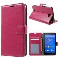 PU kožené peněženkové pouzdro na mobil Sony Xperia E4 - rose