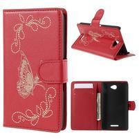 Peněženkové pouzdro s motýlkem na Sony Xperia E4 - červené