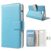 Koženkové pouzdro pro Sony Xperia E4 - světle modré