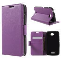 PU kožené peněženkové pouzdro na Sony Xperia E4 - fialové