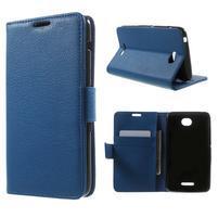 PU kožené peněženkové pouzdro na Sony Xperia E4 - modré