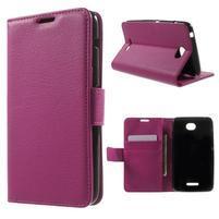 PU kožené peněženkové pouzdro na Sony Xperia E4 - rose