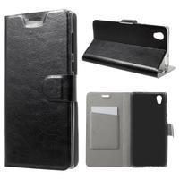 Horse PU kožené zapínací pouzdro na mobil Sony Xperia L1 - černé