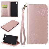 Motýlkové PU kožené pouzdro s poutkem na Sony Xperia L1 - růžové