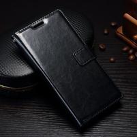 Grain PU kožené knížkové pouzdro na Sony Xperia L1 - černé