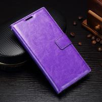 Grain PU kožené knížkové pouzdro na Sony Xperia L1 - fialové