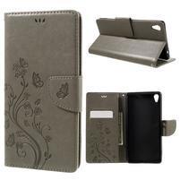 Butterfly PU kožené pouzdro na Sony Xperia XA Ultra - šedé