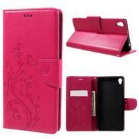 Butterfly PU kožené pouzdro na Sony Xperia XA Ultra - rose