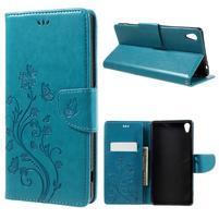 Butterfly PU kožené pouzdro na Sony Xperia XA Ultra - modré
