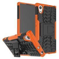 Outdoor odolný obal se stojánkem na Sony Xperia XA1 - oranžový