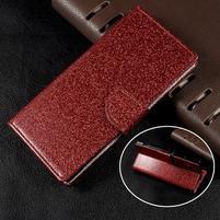 Třpytkové knížkové pouzdro na Sony Xperia XA1 - červené