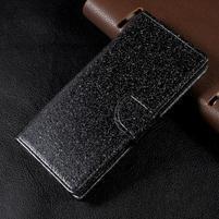 Třpytkové knížkové pouzdro na Sony Xperia XA1 - černé