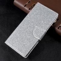 Třpytkové knížkové pouzdro na Sony Xperia XA1 - stříbrné