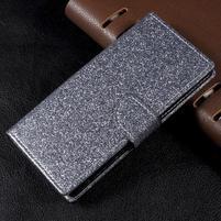 Třpytkové knížkové pouzdro na Sony Xperia XA1 - šedé