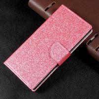 Třpytkové knížkové pouzdro na Sony Xperia XA1 - růžové