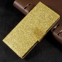 Třpytkové knížkové pouzdro na Sony Xperia XA1 - zlaté