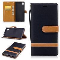 Jeany PU kožené/textilní pouzdro na telefon Sony Xperia XA1 - černé
