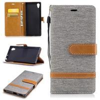 Jeany PU kožené/textilní pouzdro na telefon Sony Xperia XA1 - šedé