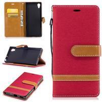 Jeany PU kožené/textilní pouzdro na telefon Sony Xperia XA1 - červené