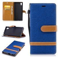 Jeany PU kožené/textilní pouzdro na telefon Sony Xperia XA1 - modré