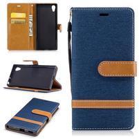 Jeany PU kožené/textilní pouzdro na telefon Sony Xperia XA1 - tmavěmodré