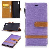Jeany PU kožené/textilní pouzdro na telefon Sony Xperia XA1 - fialové