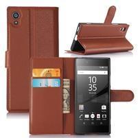 Graines peněženkové pouzdro na mobil Sony Xperia XA1 - hnědé