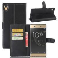 Graines PU kožené pouzdro na Sony Xperia XA1 Ultra - černé