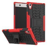Outdoor odolný obal se stojánkem na Sony Xperia XA1 Ultra - červený