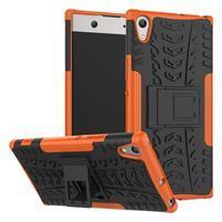 Outdoor odolný obal se stojánkem na Sony Xperia XA1 Ultra - oranžový