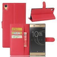 Graines PU kožené pouzdro na Sony Xperia XA1 Ultra - červené