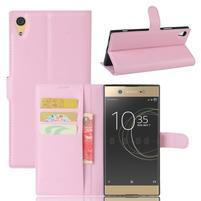 Graines PU kožené pouzdro na Sony Xperia XA1 Ultra - růžové