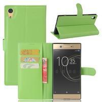 Graines PU kožené pouzdro na Sony Xperia XA1 Ultra - zelené