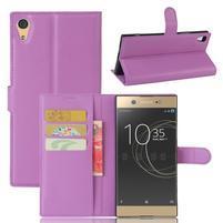 Graines PU kožené pouzdro na Sony Xperia XA1 Ultra - fialové
