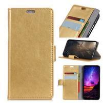 Stand PU kožené pouzdro na mobil Sony Xperia XA2 Plus - zlaté