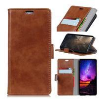 Stand PU kožené pouzdro na mobil Sony Xperia XA2 Plus - hnědé